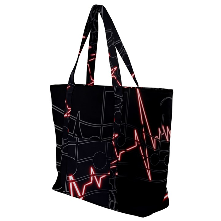 Music Wallpaper Heartbeat Melody Zip Up Canvas Bag
