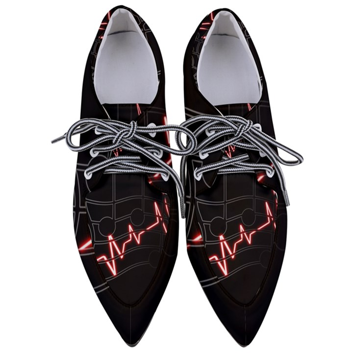 Music Wallpaper Heartbeat Melody Women s Pointed Oxford Shoes