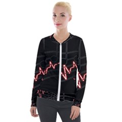 Music Wallpaper Heartbeat Melody Velour Zip Up Jacket