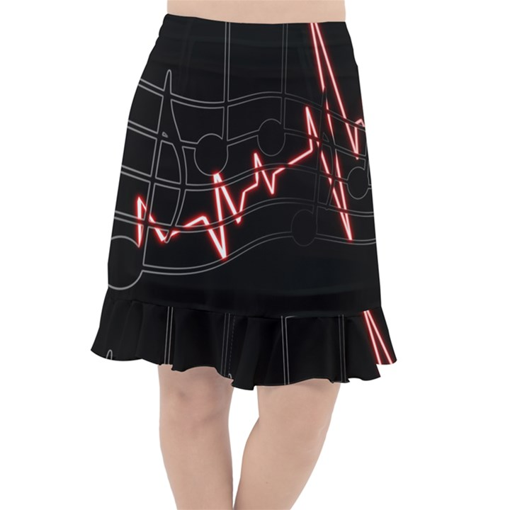 Music Wallpaper Heartbeat Melody Fishtail Chiffon Skirt