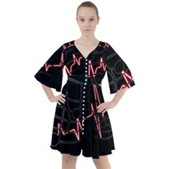 Music Wallpaper Heartbeat Melody Boho Button Up Dress by HermanTelo