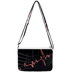 Music Wallpaper Heartbeat Melody Double Gusset Crossbody Bag by HermanTelo