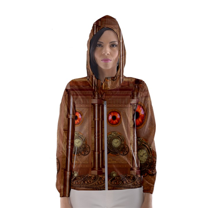 Steampunk Design Women s Hooded Windbreaker
