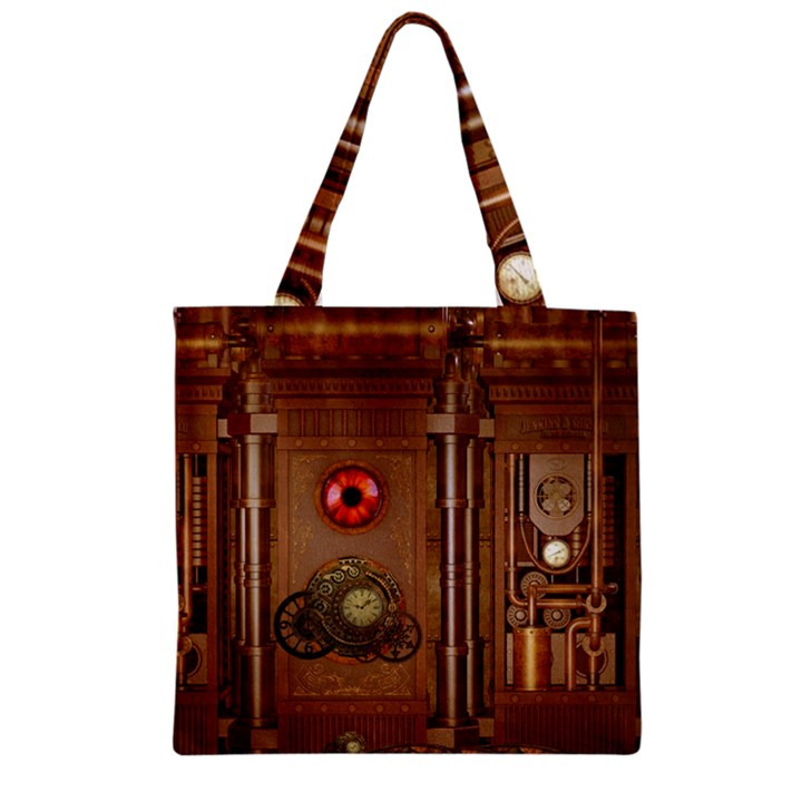 Steampunk Design Zipper Grocery Tote Bag