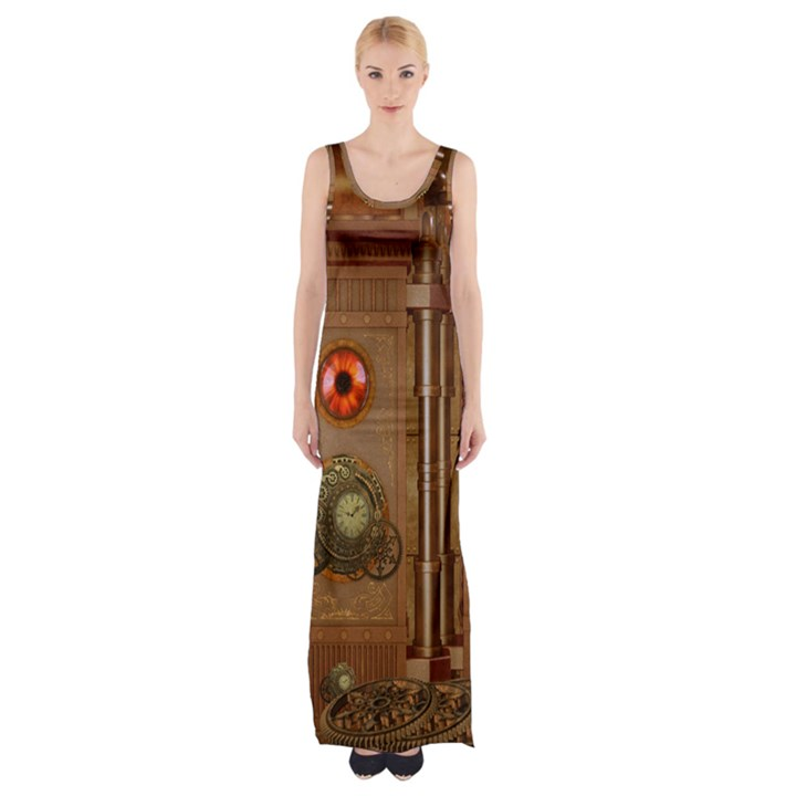 Steampunk Design Thigh Split Maxi Dress