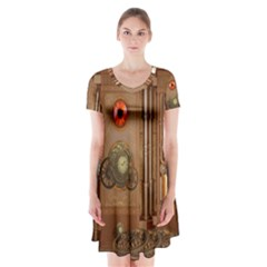 Steampunk Design Short Sleeve V-neck Flare Dress
