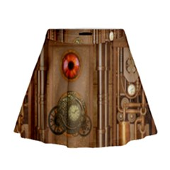 Steampunk Design Mini Flare Skirt