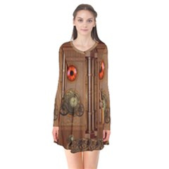 Steampunk Design Long Sleeve V Neck Flare Dress