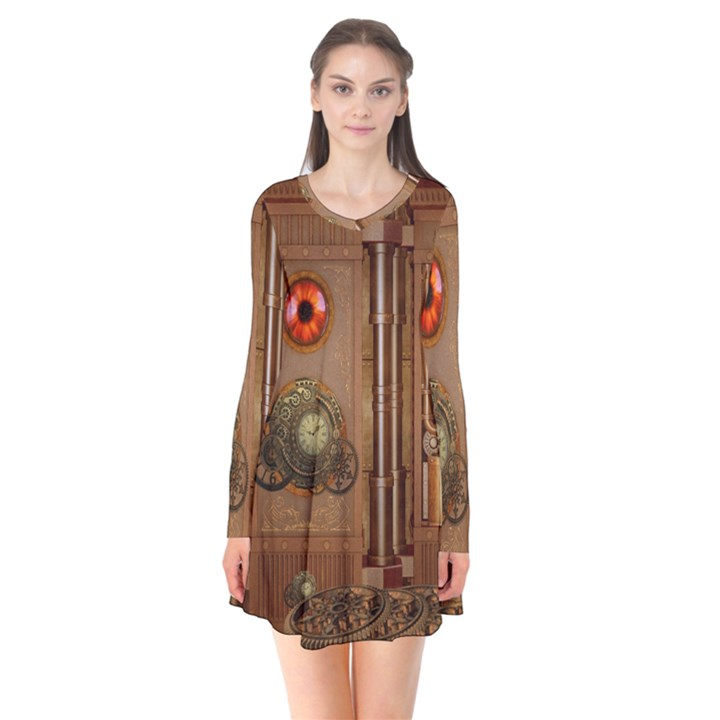 Steampunk Design Long Sleeve V-neck Flare Dress