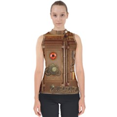 Steampunk Design Mock Neck Shell Top
