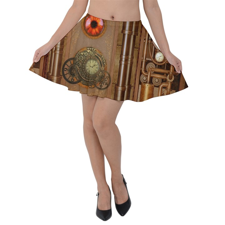 Steampunk Design Velvet Skater Skirt
