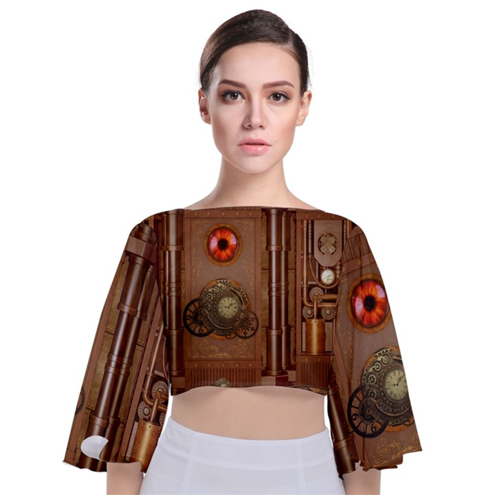 Steampunk Design Tie Back Butterfly Sleeve Chiffon Top