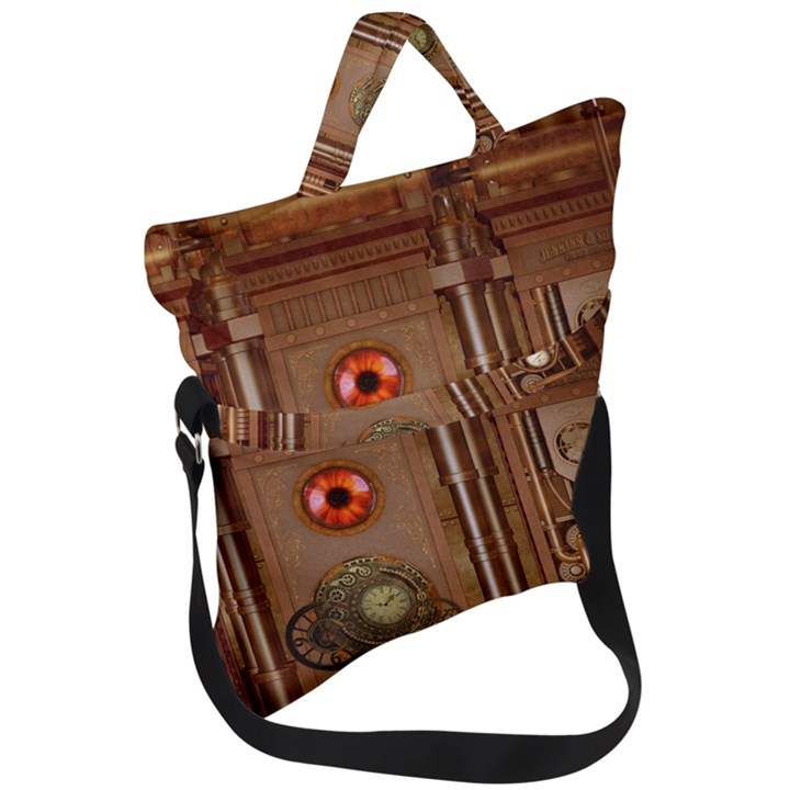Steampunk Design Fold Over Handle Tote Bag