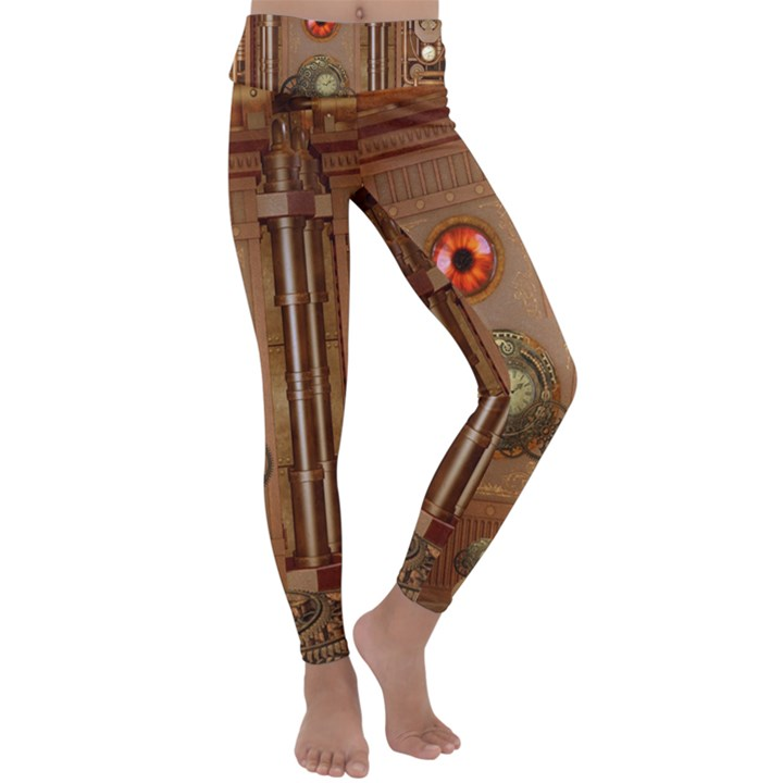 Steampunk Design Kids  Lightweight Velour Classic Yoga Leggings
