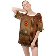 Steampunk Design Oversized Chiffon Top by FantasyWorld7