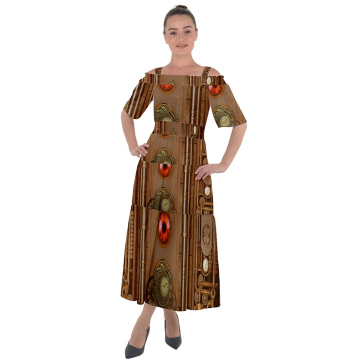 Steampunk Design Shoulder Straps Boho Maxi Dress