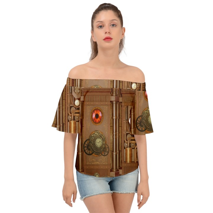 Steampunk Design Off Shoulder Short Sleeve Top