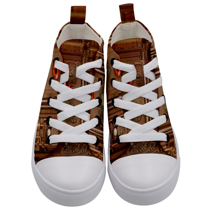 Steampunk Design Kids  Mid-Top Canvas Sneakers
