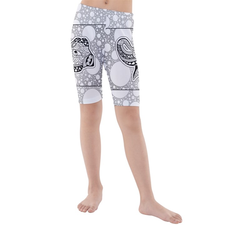 Elegant Mandala Elephant In Black And Wihte Kids  Mid Length Swim Shorts