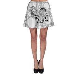 Elegant Mandala Elephant In Black And Wihte Skater Skirt
