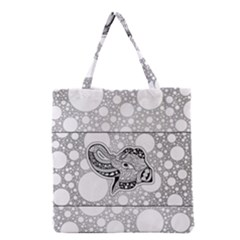 Elegant Mandala Elephant In Black And Wihte Grocery Tote Bag