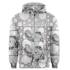 Elegant Mandala Elephant In Black And Wihte Men s Zipper Hoodie