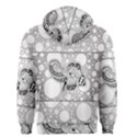 Elegant Mandala Elephant In Black And Wihte Men s Zipper Hoodie View2