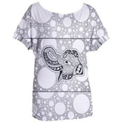 Elegant Mandala Elephant In Black And Wihte Women s Oversized Tee by FantasyWorld7