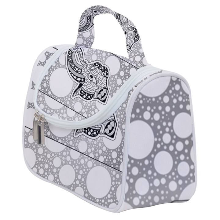 Elegant Mandala Elephant In Black And Wihte Satchel Handbag
