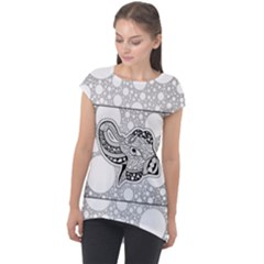 Elegant Mandala Elephant In Black And Wihte Cap Sleeve High Low Top by FantasyWorld7