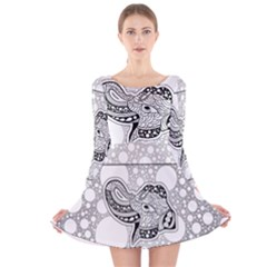 Elegant Mandala Elephant In Black And Wihte Long Sleeve Velvet Skater Dress