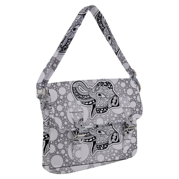 Elegant Mandala Elephant In Black And Wihte Buckle Messenger Bag