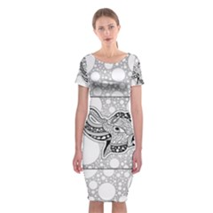 Elegant Mandala Elephant In Black And Wihte Classic Short Sleeve Midi Dress