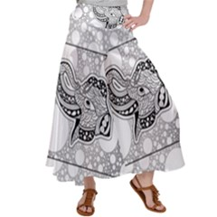 Elegant Mandala Elephant In Black And Wihte Satin Palazzo Pants