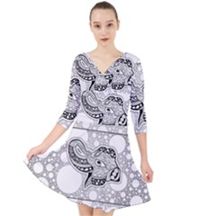 Elegant Mandala Elephant In Black And Wihte Quarter Sleeve Front Wrap Dress by FantasyWorld7