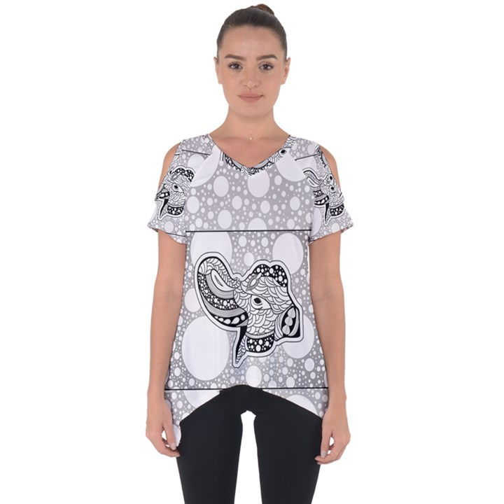 Elegant Mandala Elephant In Black And Wihte Cut Out Side Drop Tee