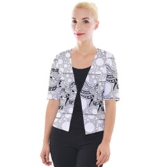 Elegant Mandala Elephant In Black And Wihte Cropped Button Cardigan