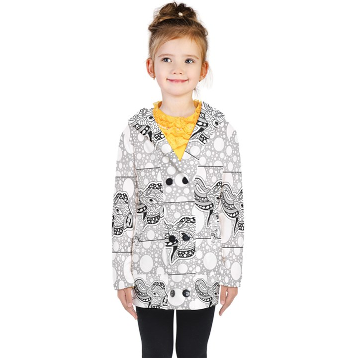 Elegant Mandala Elephant In Black And Wihte Kids  Double Breasted Button Coat