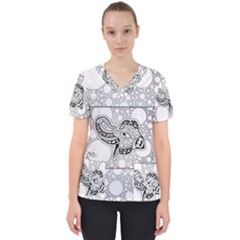 Elegant Mandala Elephant In Black And Wihte Women s V-neck Scrub Top