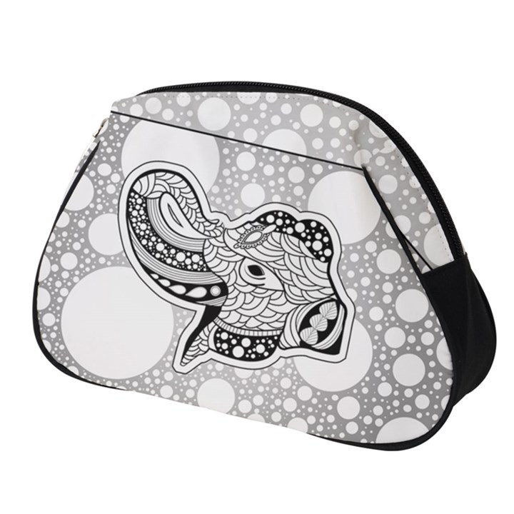 Elegant Mandala Elephant In Black And Wihte Full Print Accessory Pouch (Small)