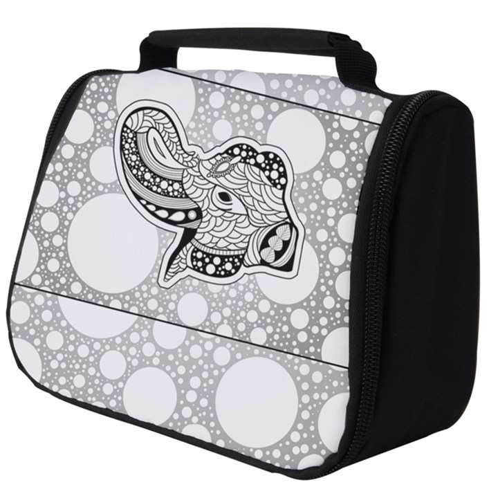 Elegant Mandala Elephant In Black And Wihte Full Print Travel Pouch (Big)
