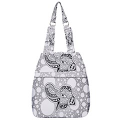 Elegant Mandala Elephant In Black And Wihte Center Zip Backpack by FantasyWorld7