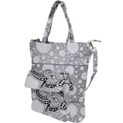 Elegant Mandala Elephant In Black And Wihte Shoulder Tote Bag