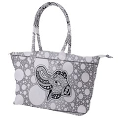 Elegant Mandala Elephant In Black And Wihte Canvas Shoulder Bag