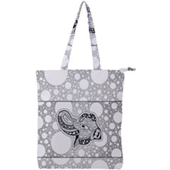 Elegant Mandala Elephant In Black And Wihte Double Zip Up Tote Bag by FantasyWorld7