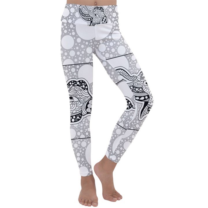 Elegant Mandala Elephant In Black And Wihte Kids  Lightweight Velour Classic Yoga Leggings