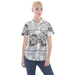 Elegant Mandala Elephant In Black And Wihte Women s Short Sleeve Pocket Shirt