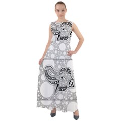 Elegant Mandala Elephant In Black And Wihte Chiffon Mesh Boho Maxi Dress
