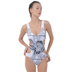 Elegant Mandala Elephant In Black And Wihte Side Cut Out Swimsuit by FantasyWorld7