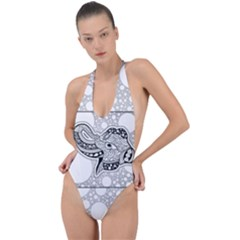 Elegant Mandala Elephant In Black And Wihte Backless Halter One Piece Swimsuit by FantasyWorld7
